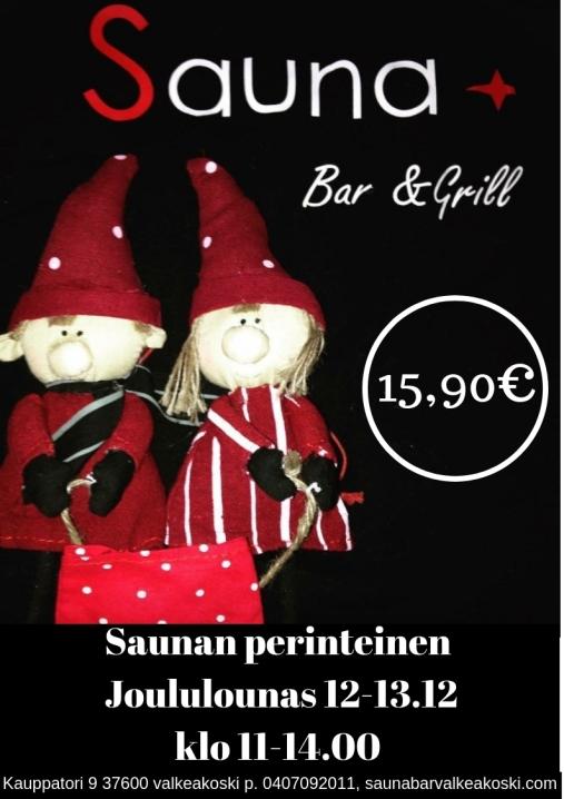 Sauna perinteinen Joululounas 12-13.12 klo 11-14.0015,90€